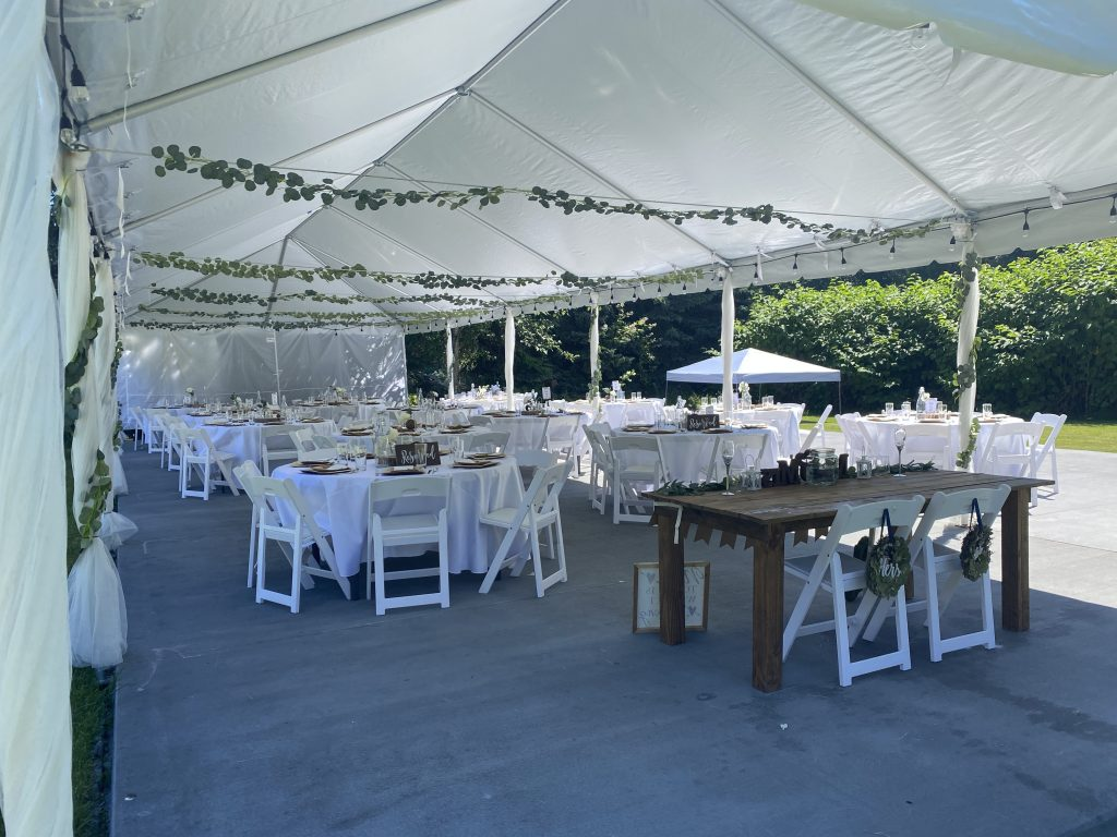 concrete slab and tent